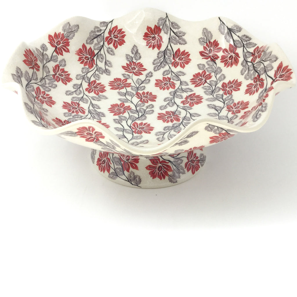 Fluted Pedestal Bowl in Red & Gray