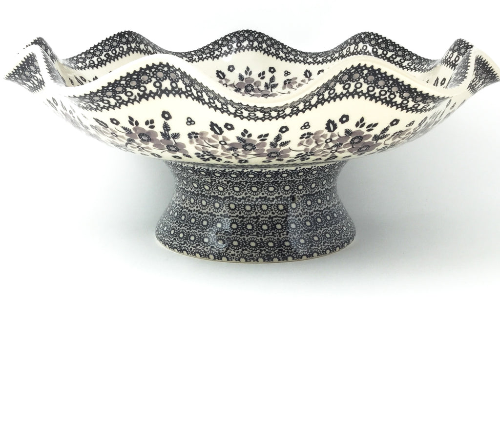 Fluted Pedestal Bowl in Gray & Black