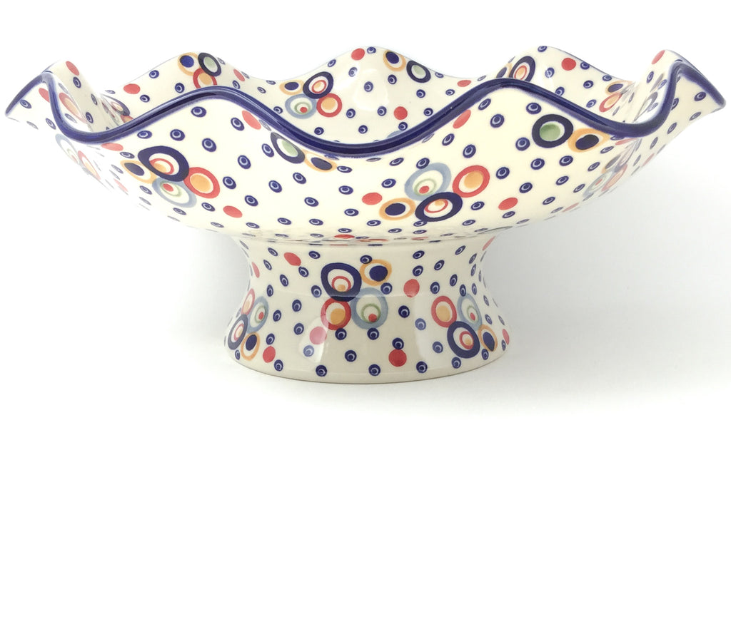 Fluted Pedestal Bowl in Modern Circles
