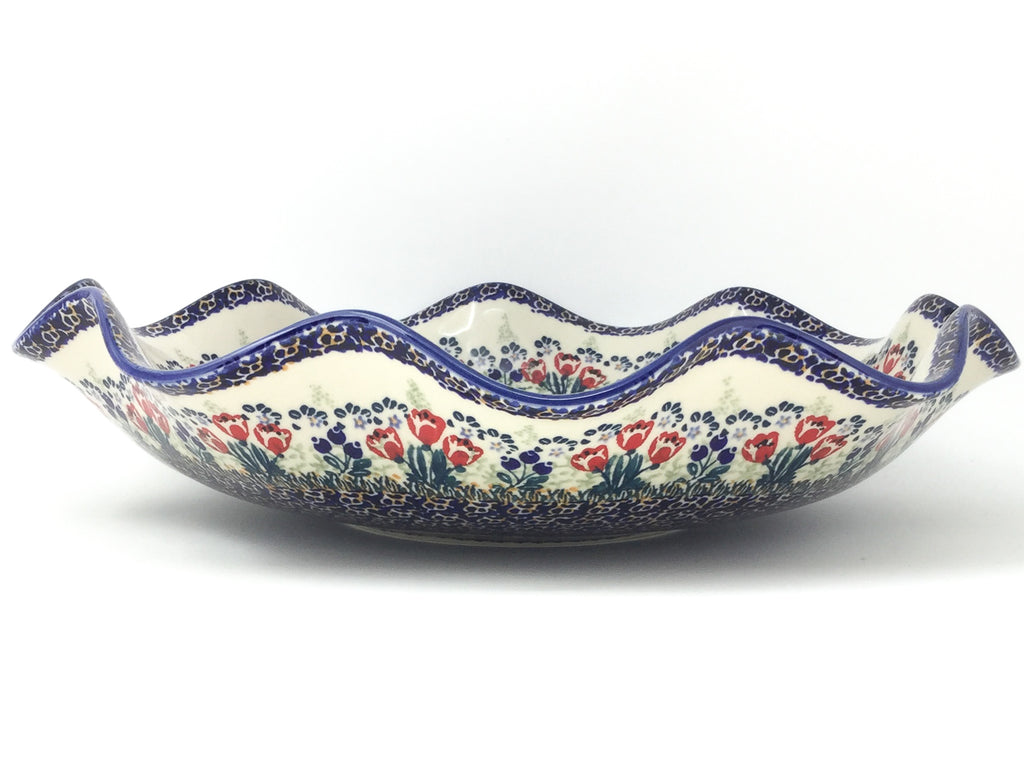 Fluted Pasta Bowl in Red Tulips