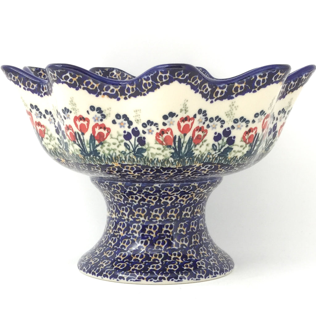 Pedestal Berry Bowl in Red Tulips