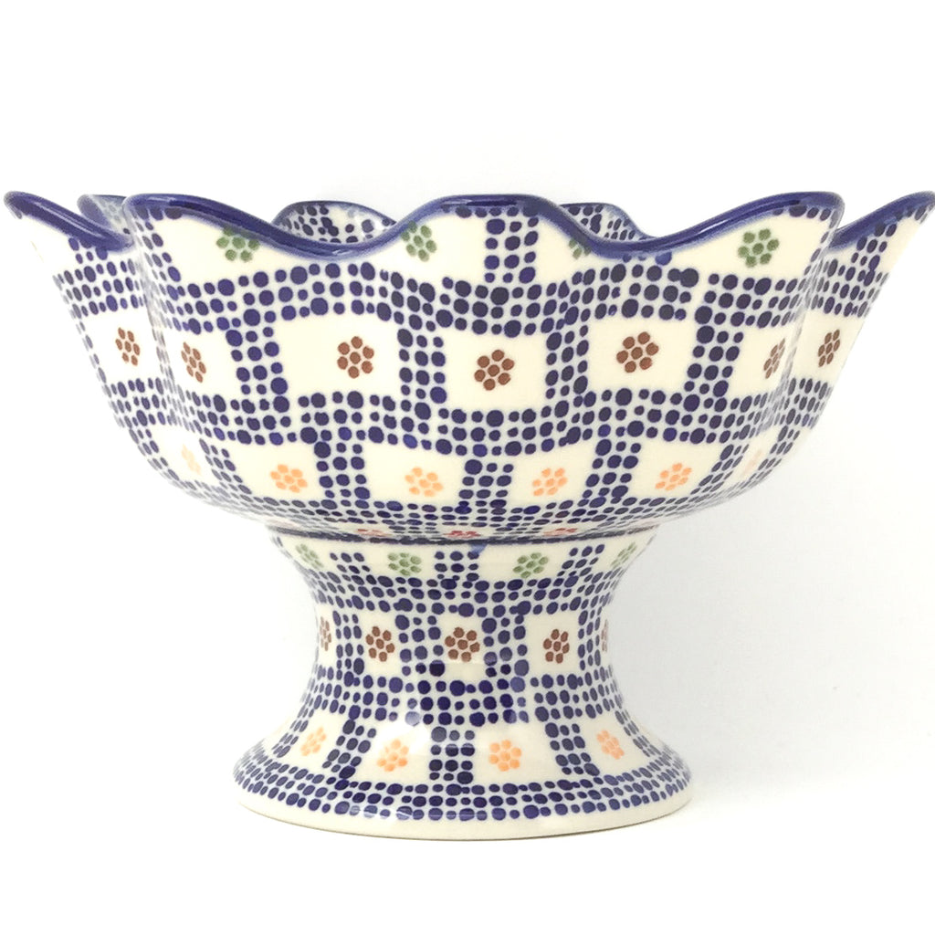 Pedestal Berry Bowl in Modern Checkers