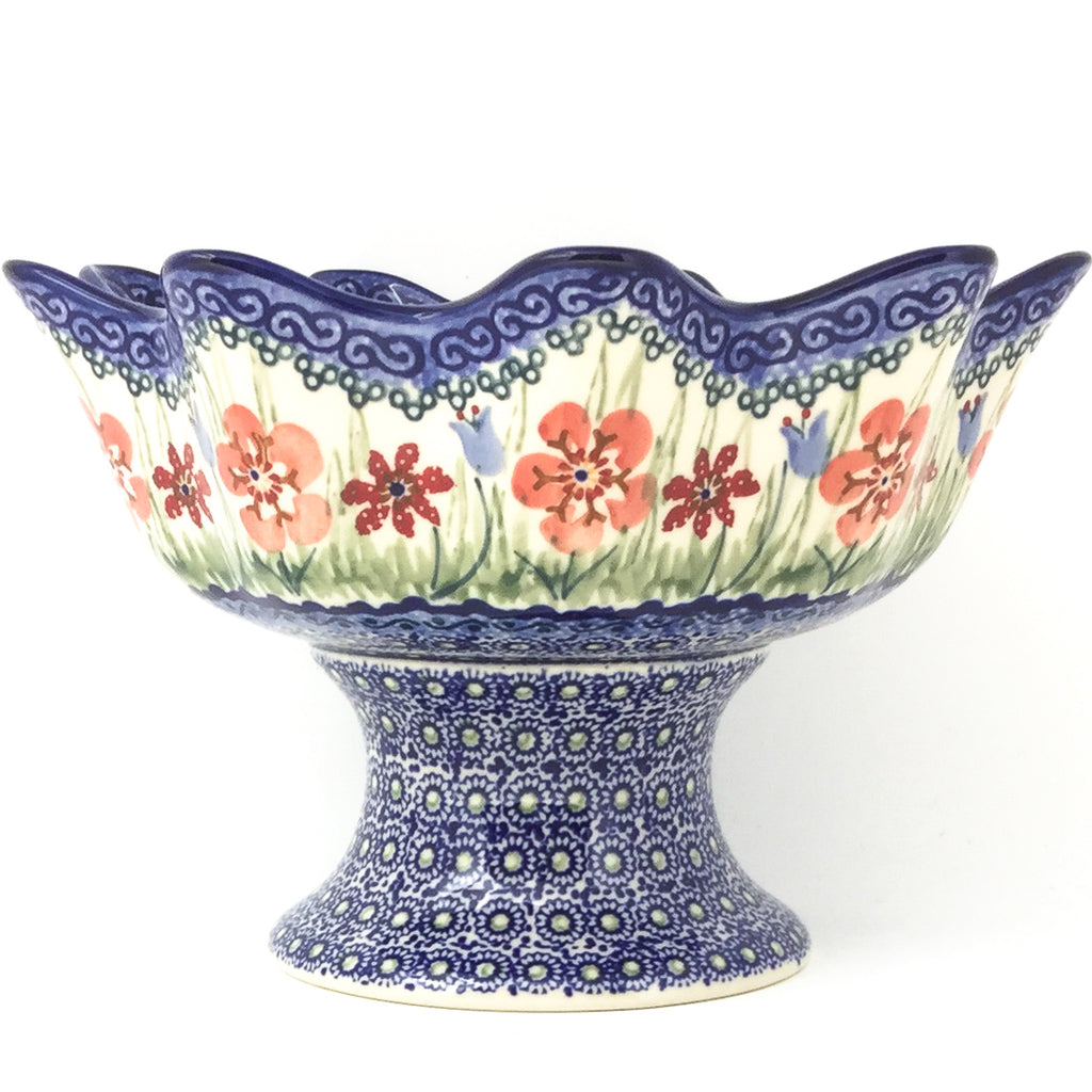 Pedestal Berry Bowl in Spring Meadow