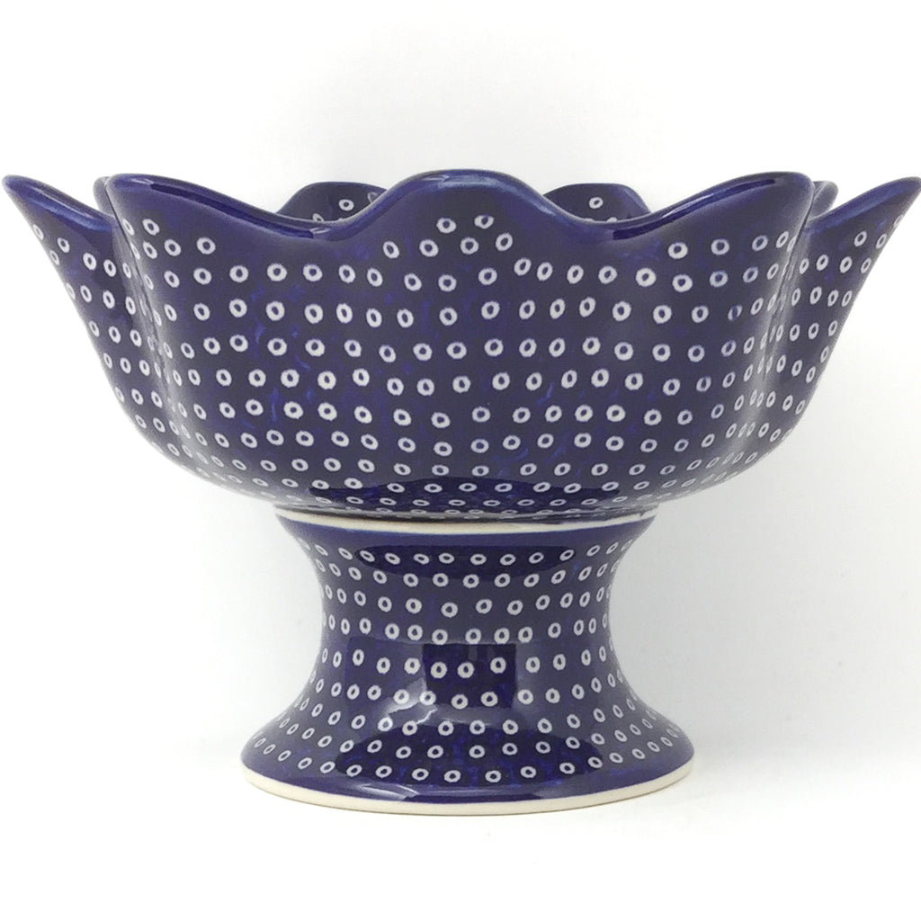 Pedestal Berry Bowl in Blue Elegance