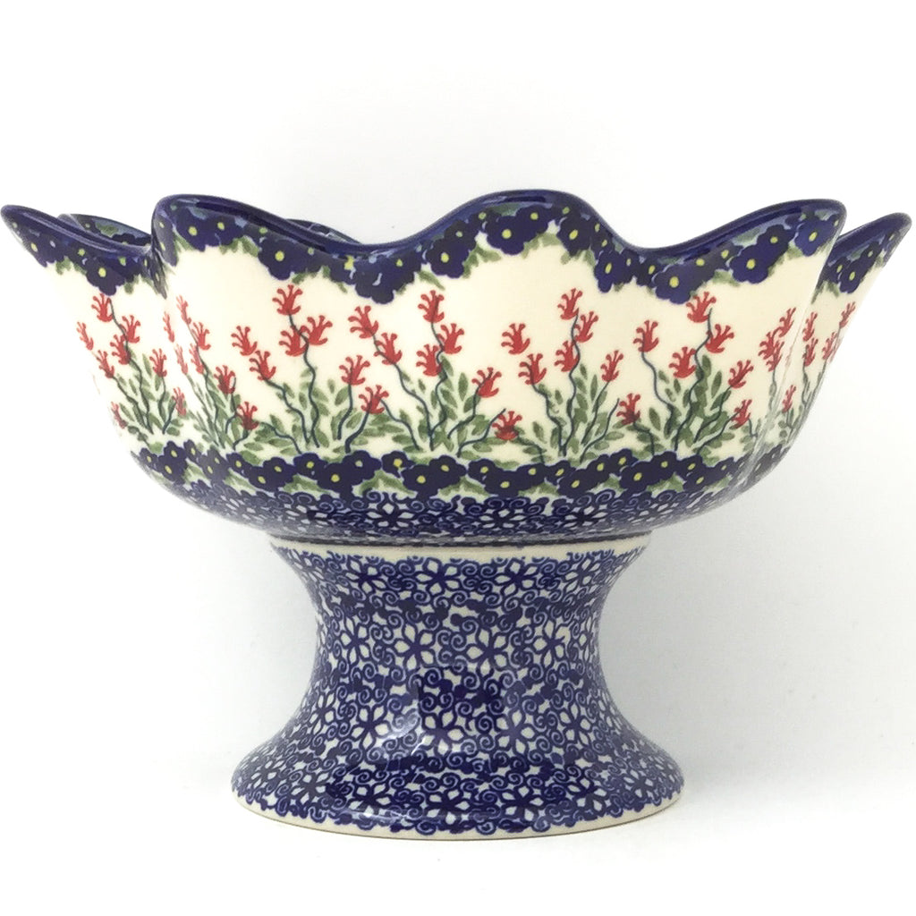 Pedestal Berry Bowl in Field of Flowers