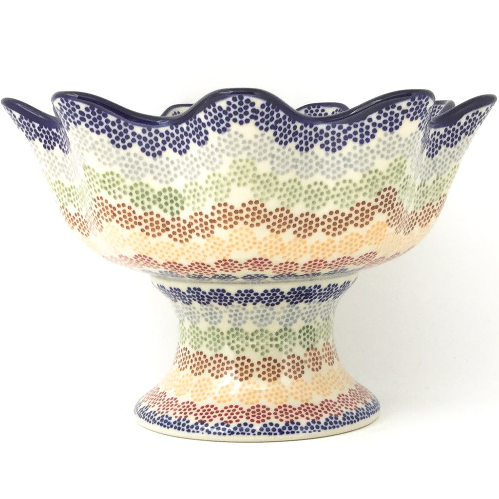 Pedestal Berry Bowl in Modern Dots