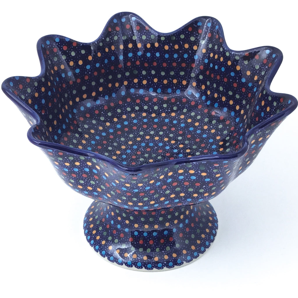 Pedestal Berry Bowl in Multi-Colored Dots