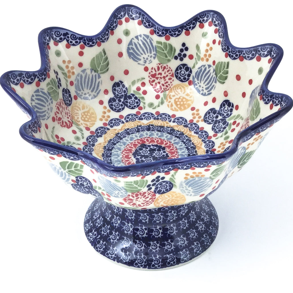 Pedestal Berry Bowl in Modern Berries