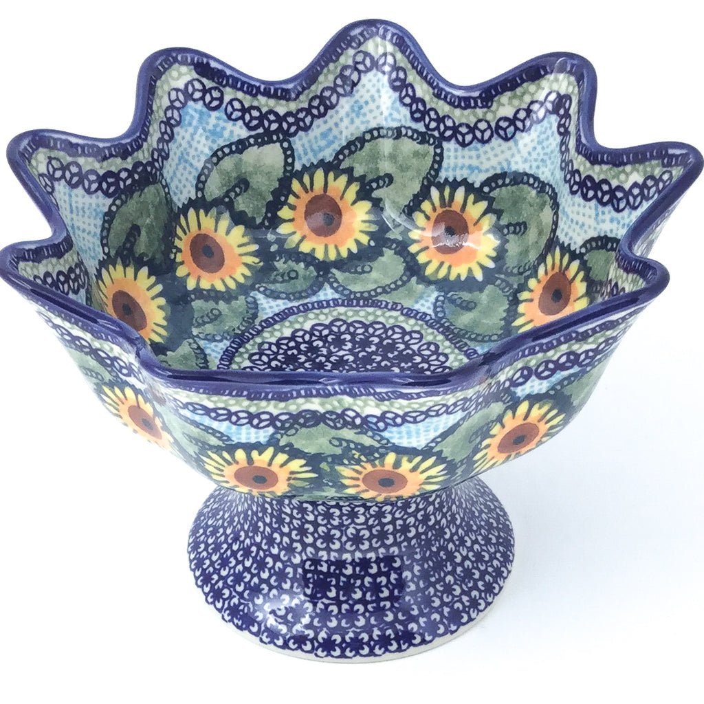 Pedestal Berry Bowl in Sunflowers