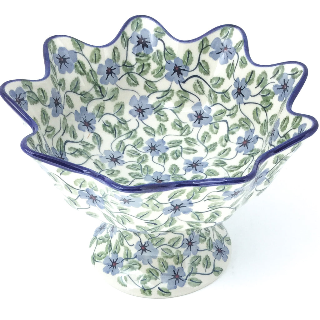 Pedestal Berry Bowl in Blue Clematis