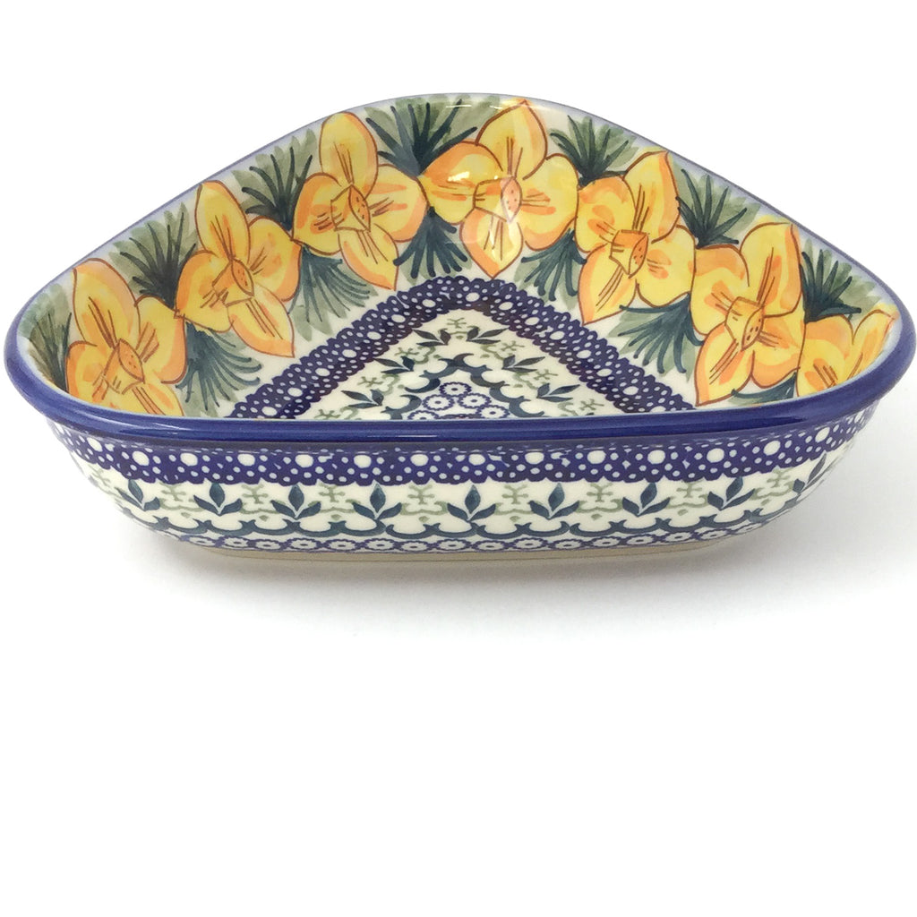 "Triangular Bowl 8"" in Daffodils"