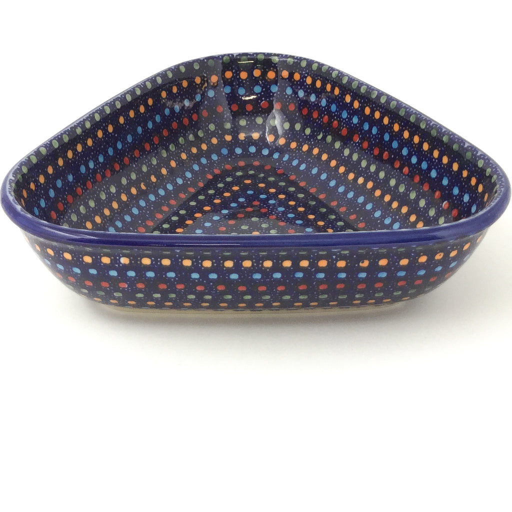 "Triangular Bowl 8"" in Multi-Colored Dots"