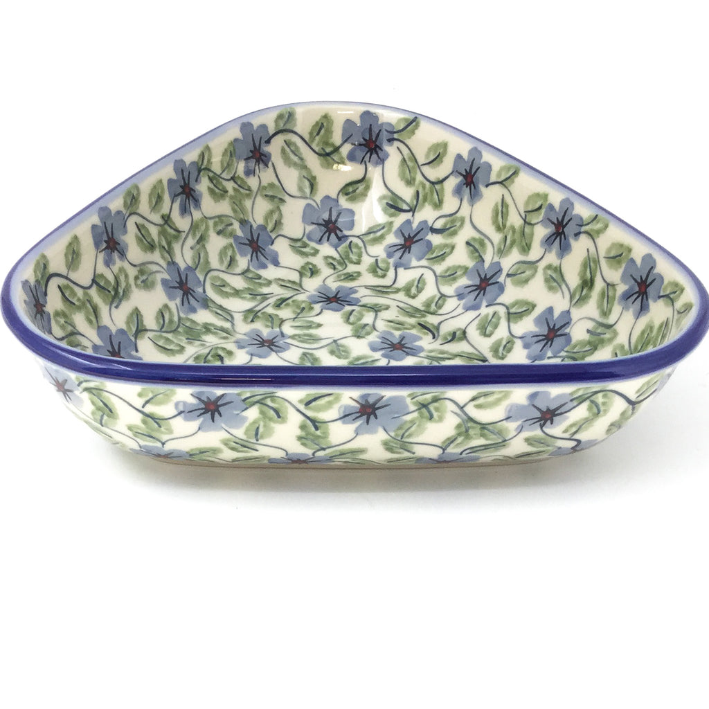 "Triangular Bowl 8"" in Blue Clematis"