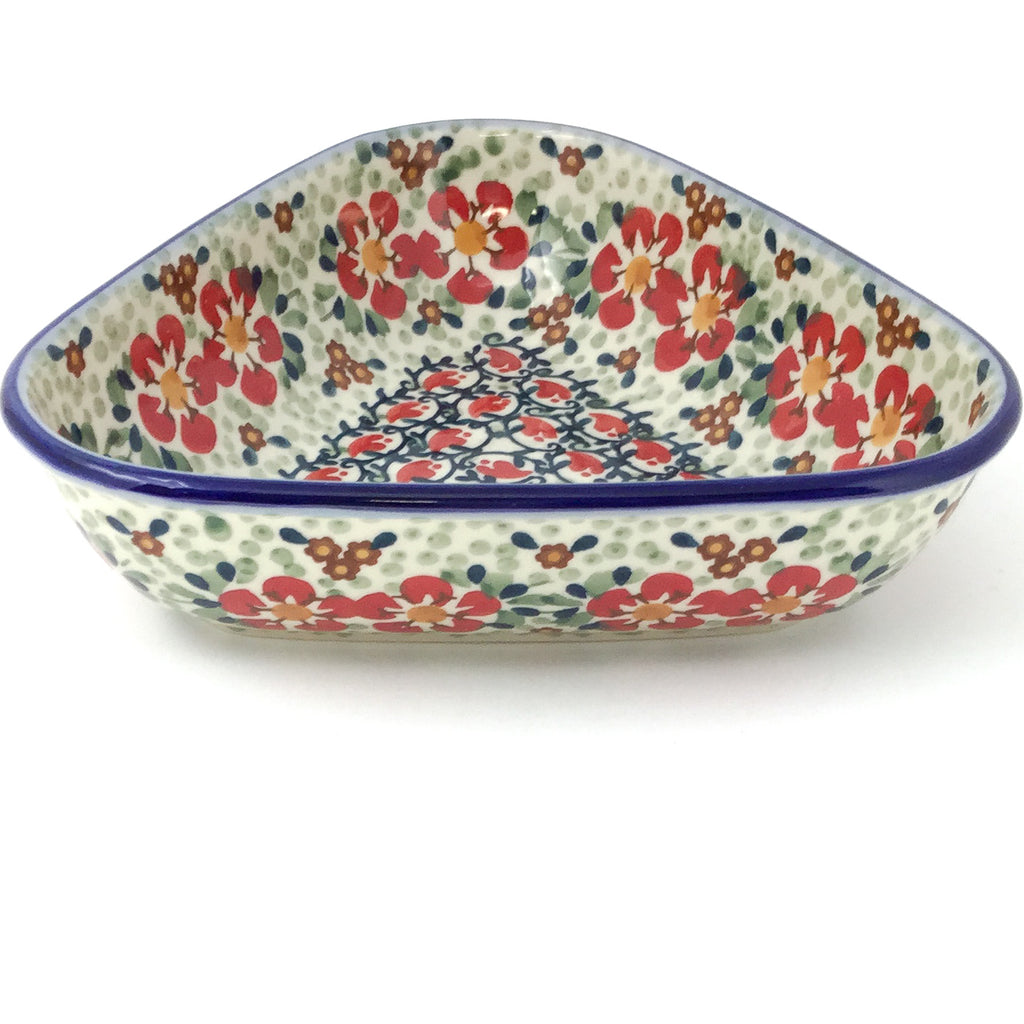 "Triangular Bowl 8"" in Red Poppies"