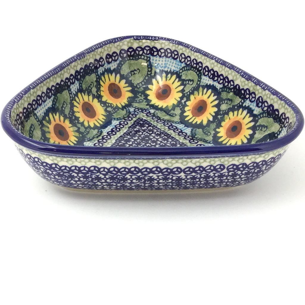 "Triangular Bowl 8"" in Sunflowers"