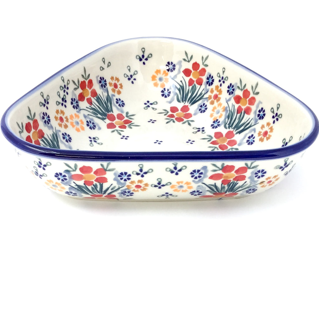 "Triangular Bowl 8"" in Delicate Flowers"