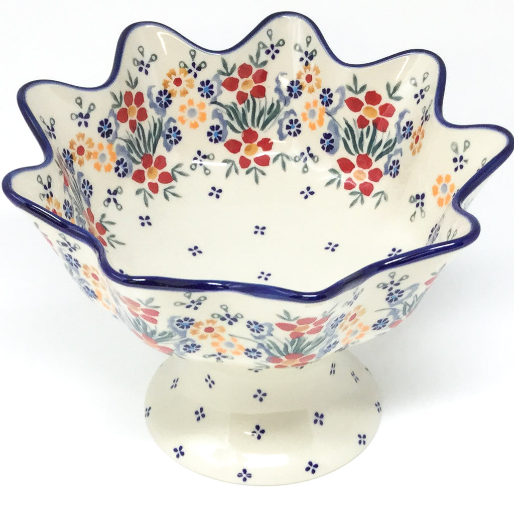 Pedestal Berry Bowl in Delicate Flowers
