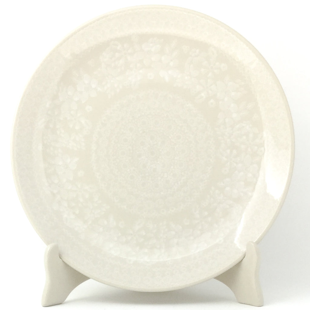 "Dinner Plate 10"" in White on White"
