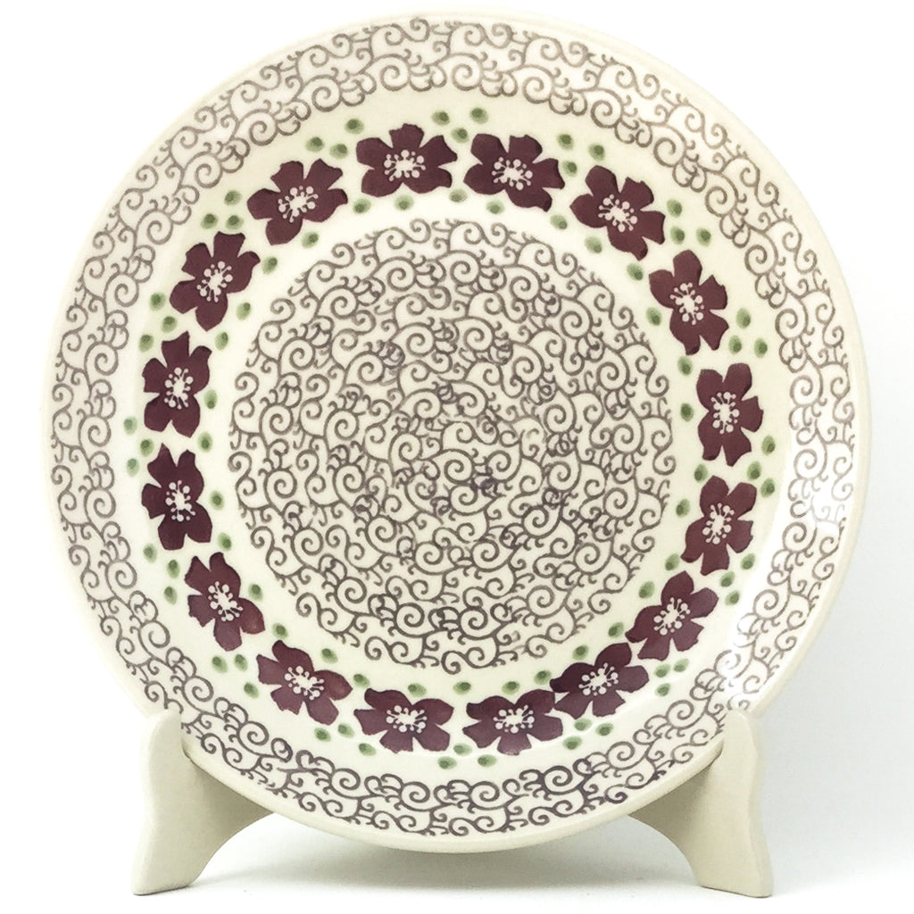 "Dinner Plate 10"" in Purple & Gray Flowers"