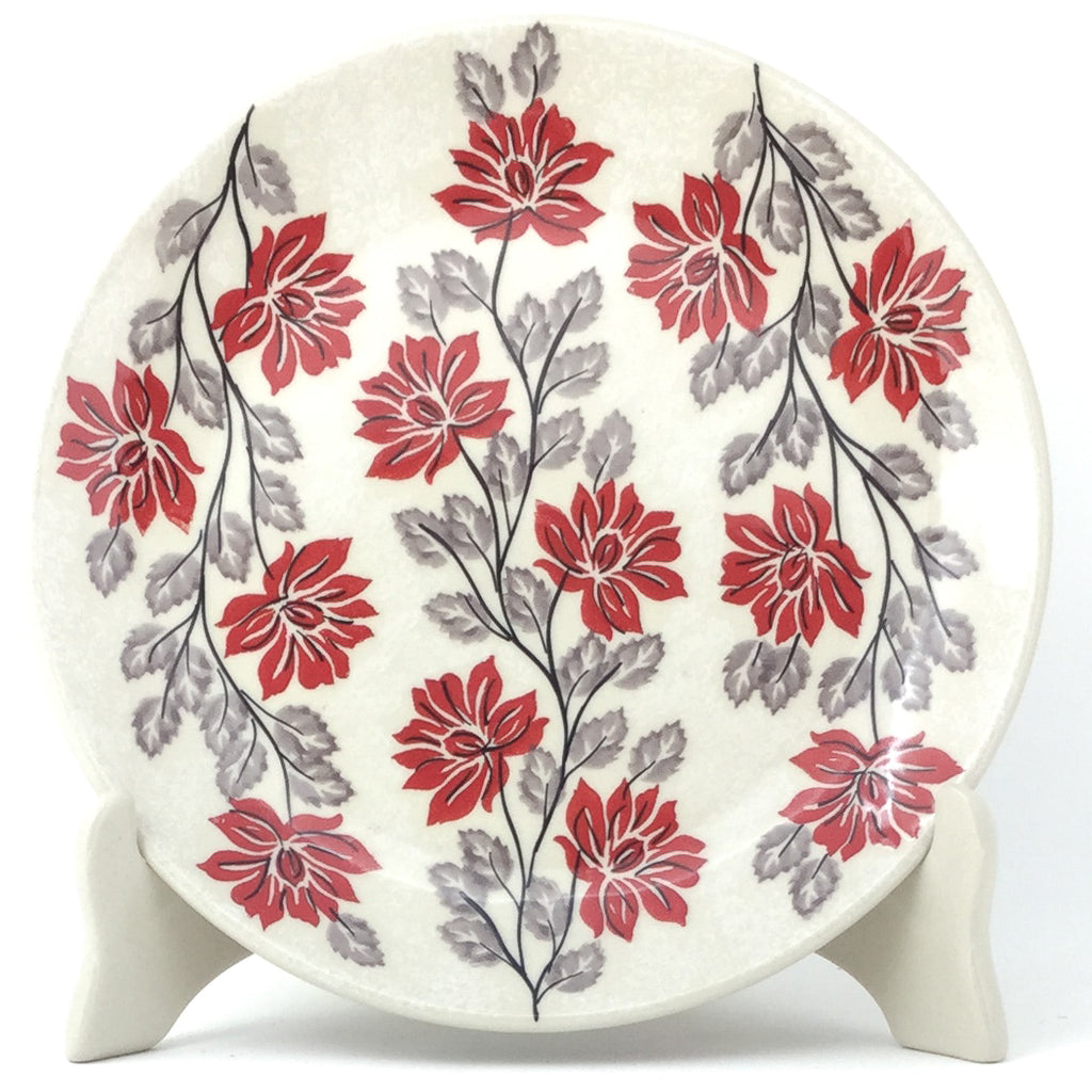 Luncheon Plate in Red & Gray