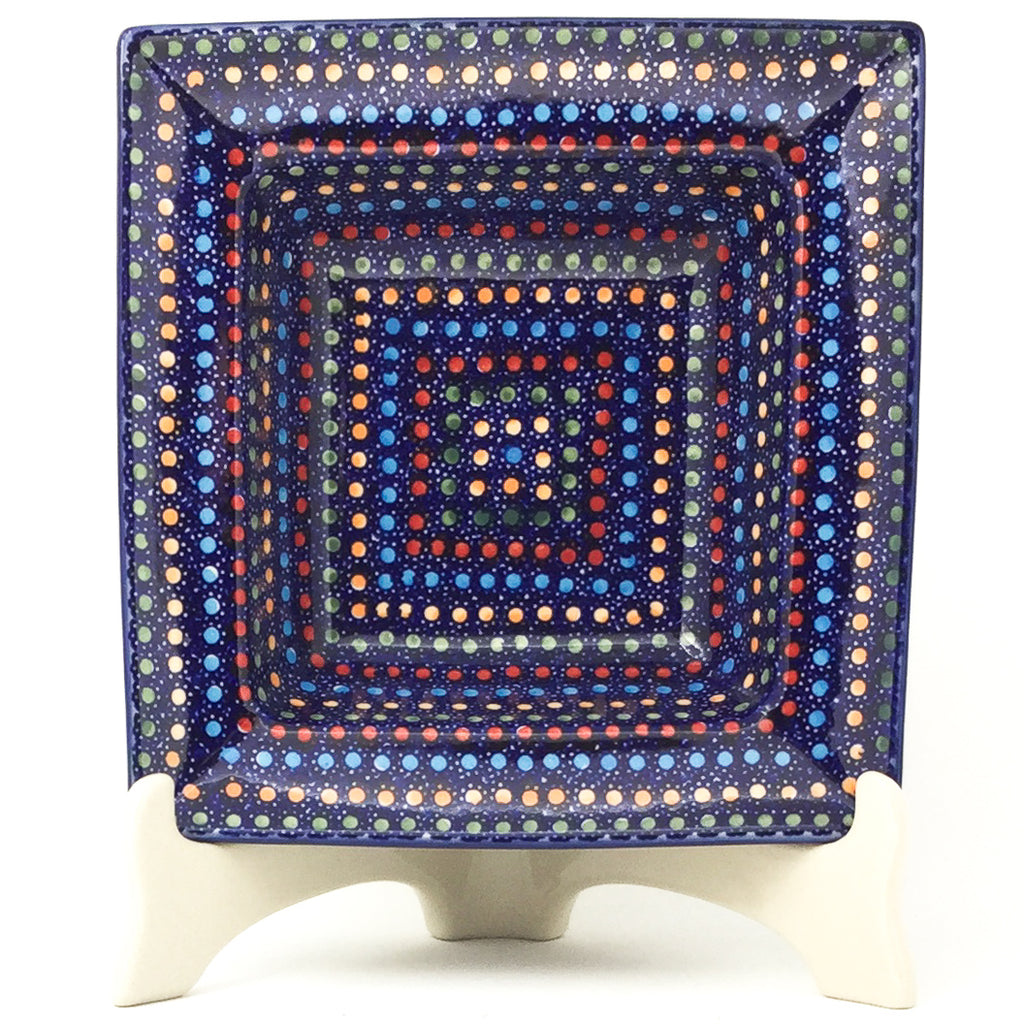 Square Soup Plate in Multi-Colored Dots