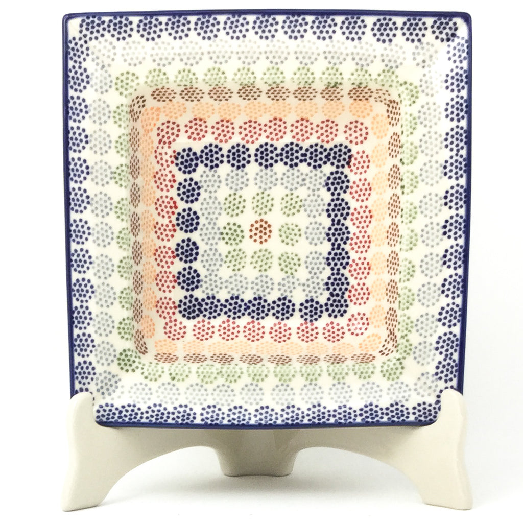 Square Soup Plate in Modern Dots