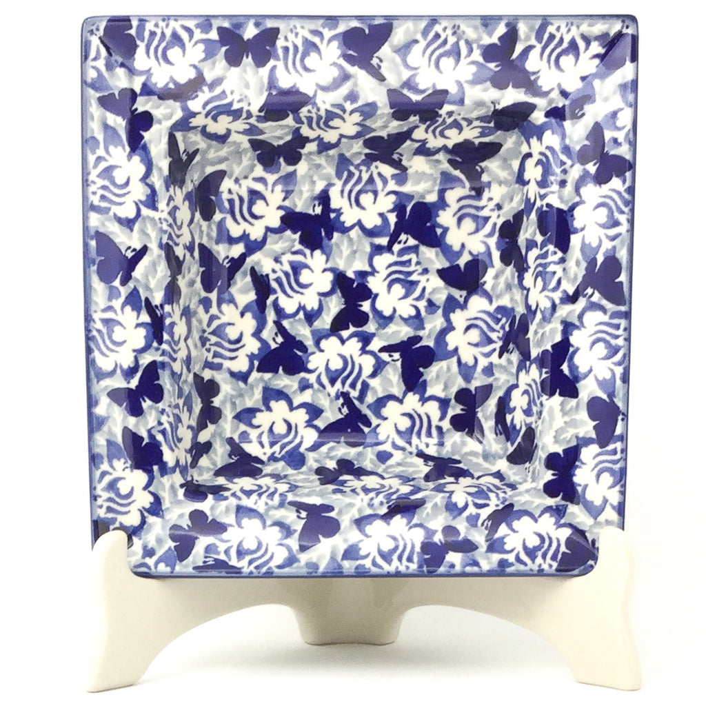 Square Soup Plate in Blue Butterfly