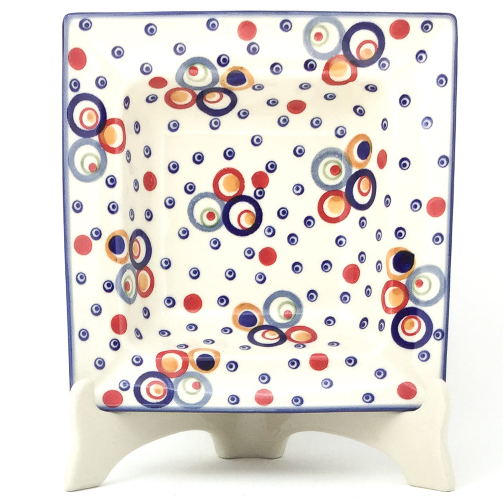 Square Soup Plate in Modern Circles