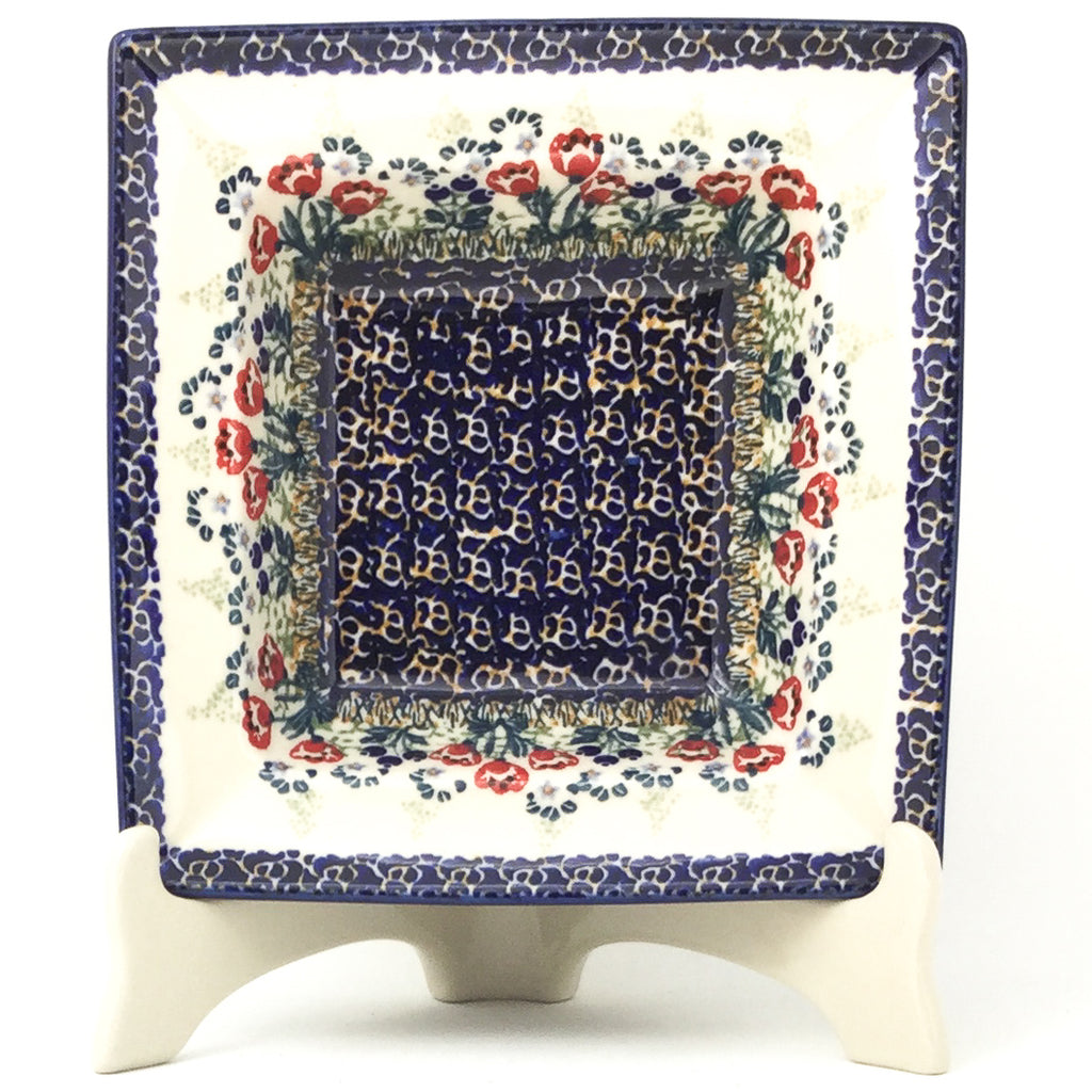 Square Soup Plate in Red Tulips