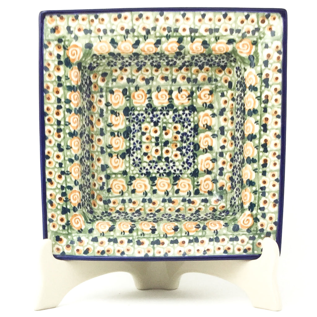 Square Soup Plate in Rose Garden