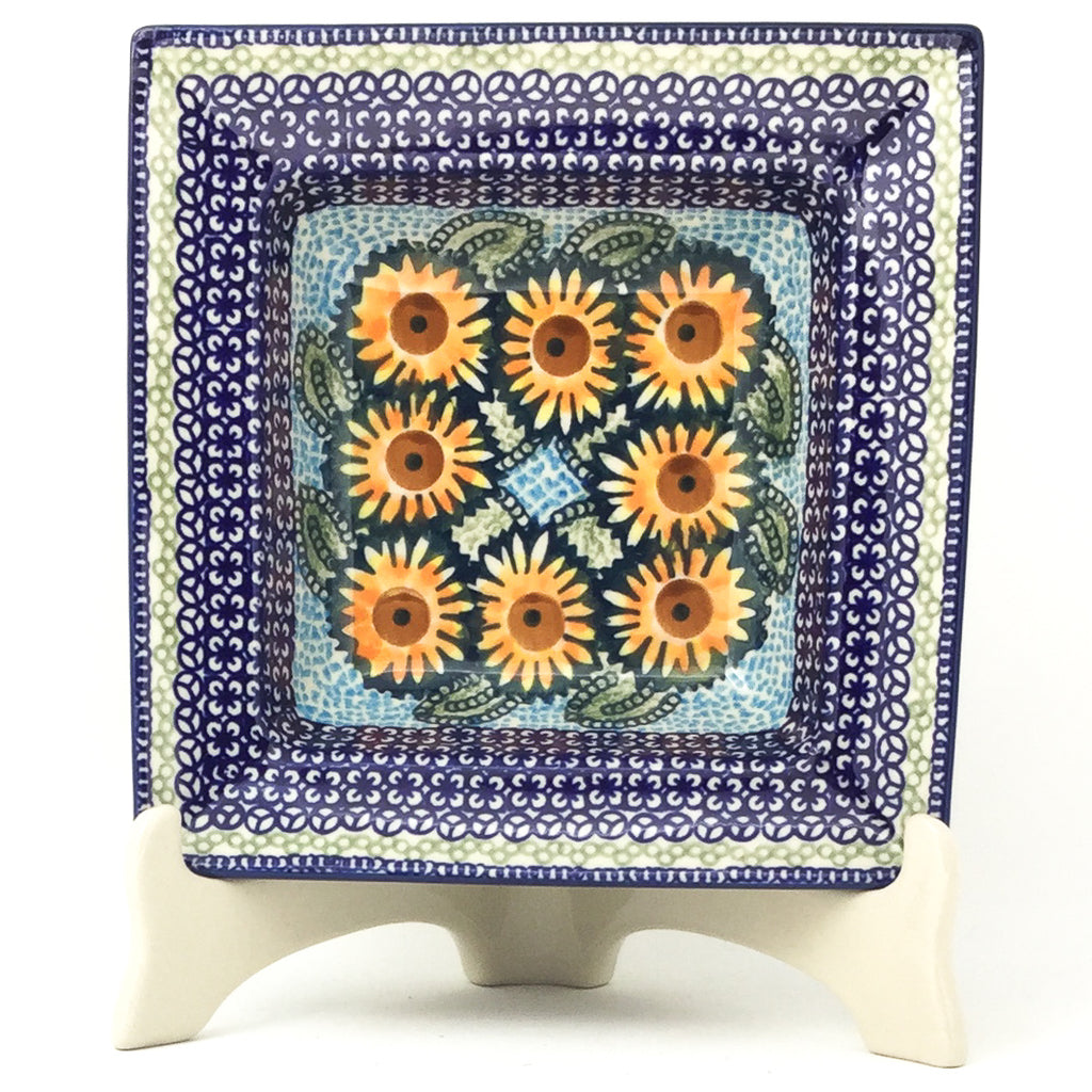 Square Soup Plate in Sunflowers