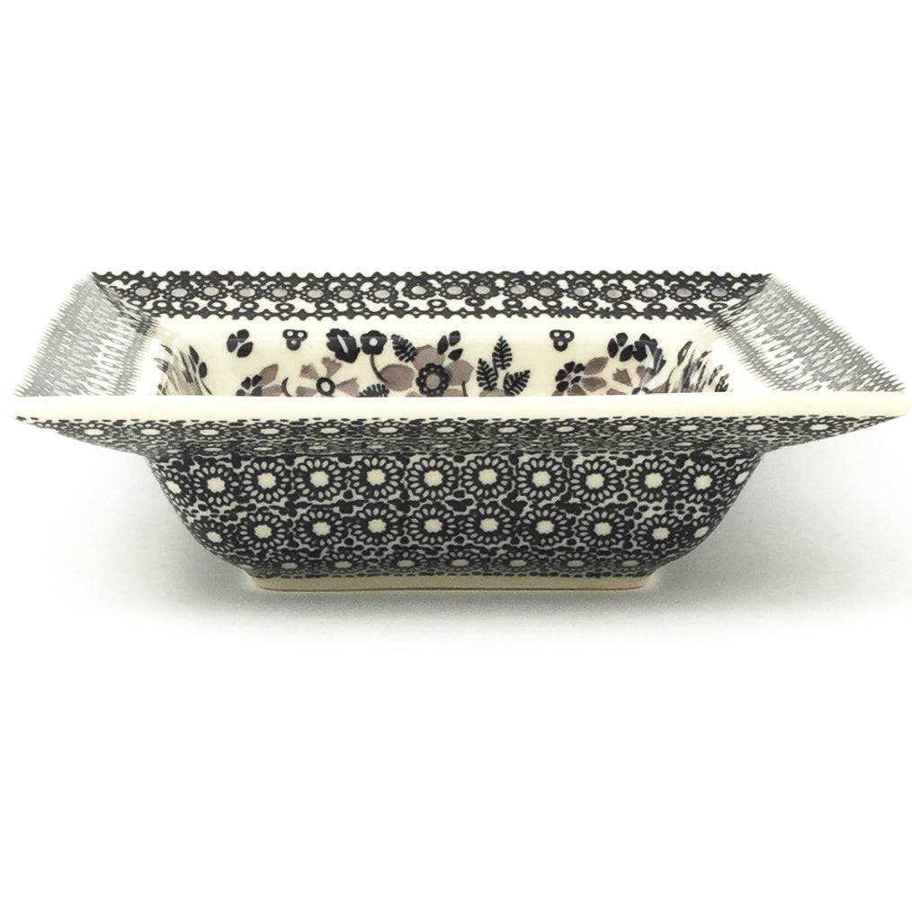 Square Soup Plate in Gray & Black