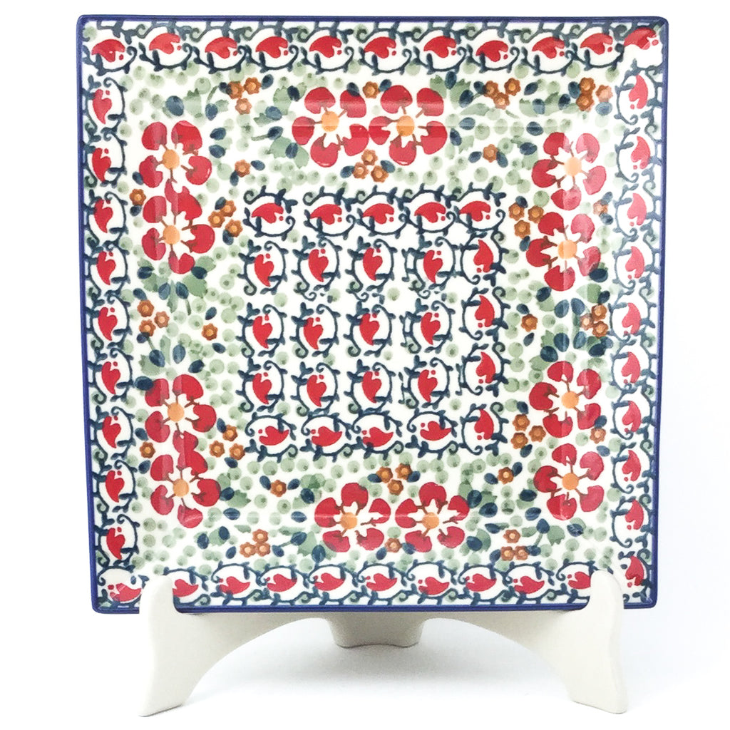 Square Dinner Plate in Red Poppies