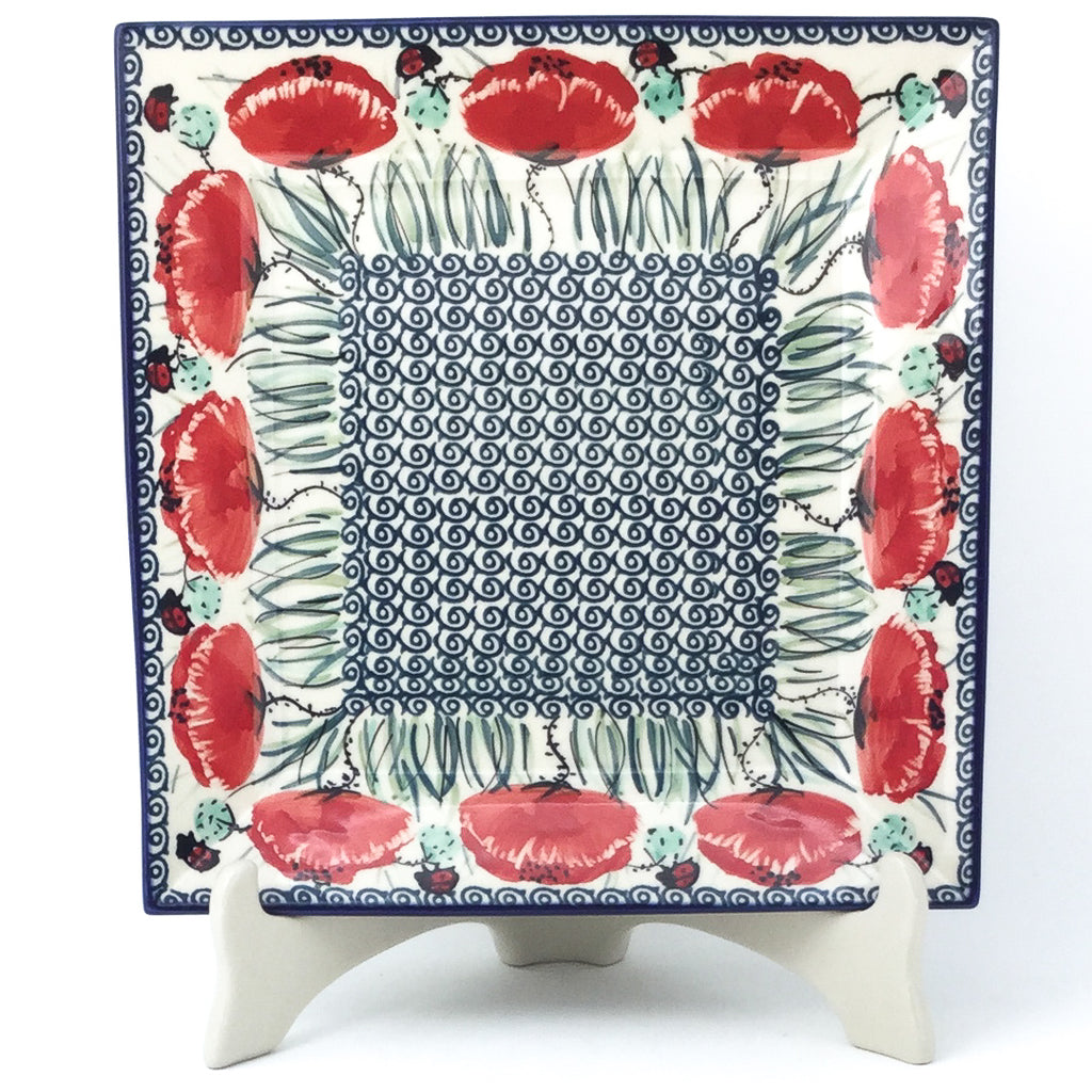 Square Dinner Plate in Polish Poppy