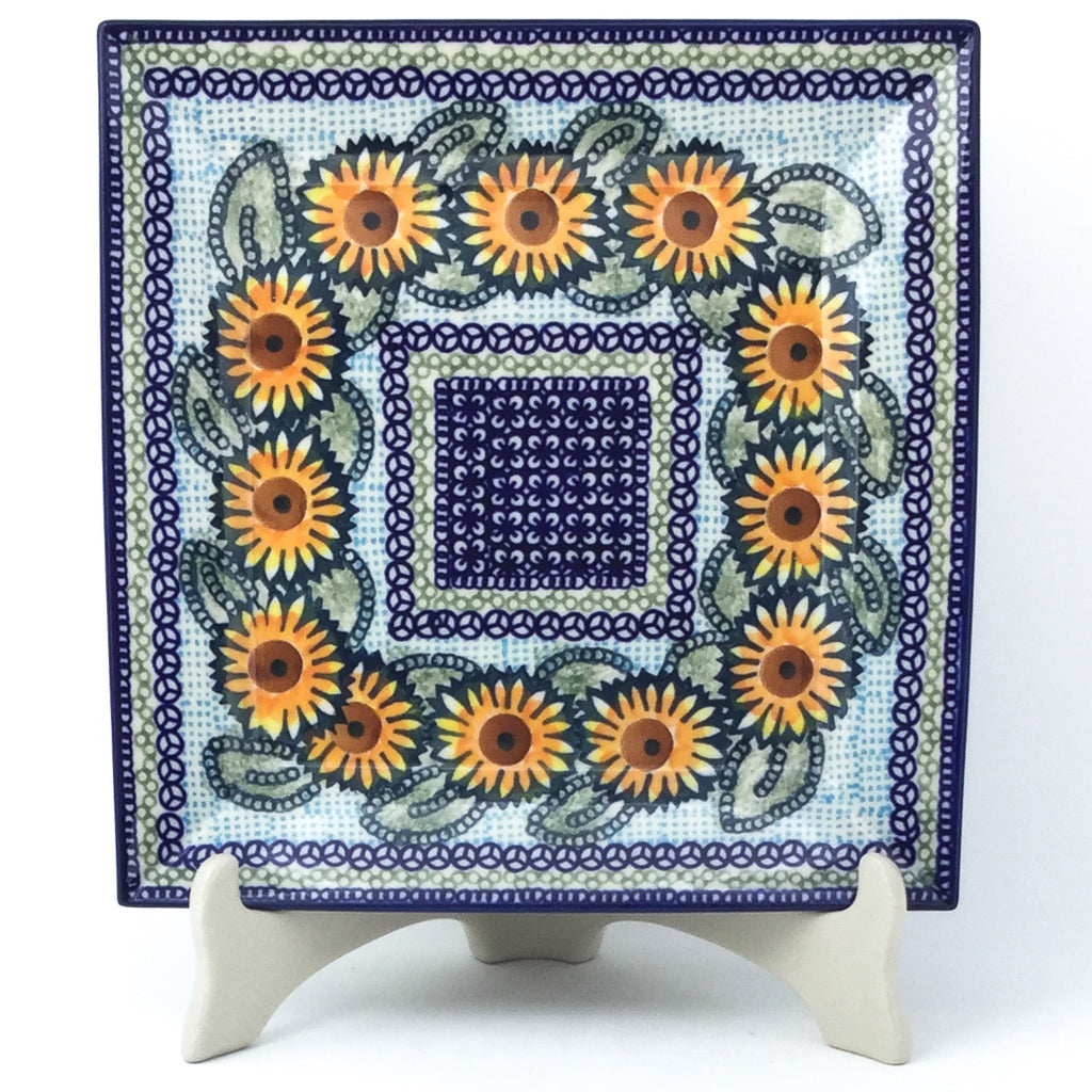 Square Dinner Plate in Sunflowers