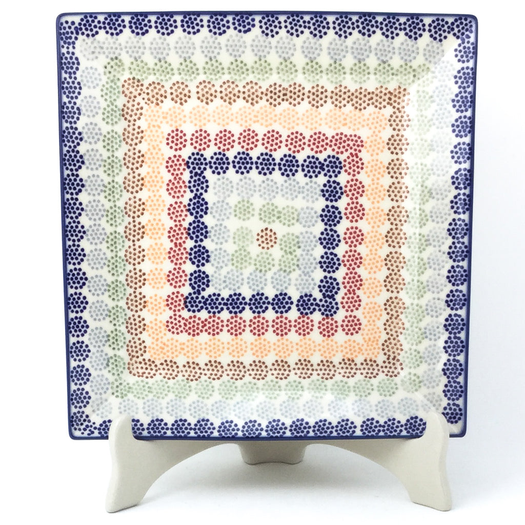 Square Dinner Plate in Modern Dots