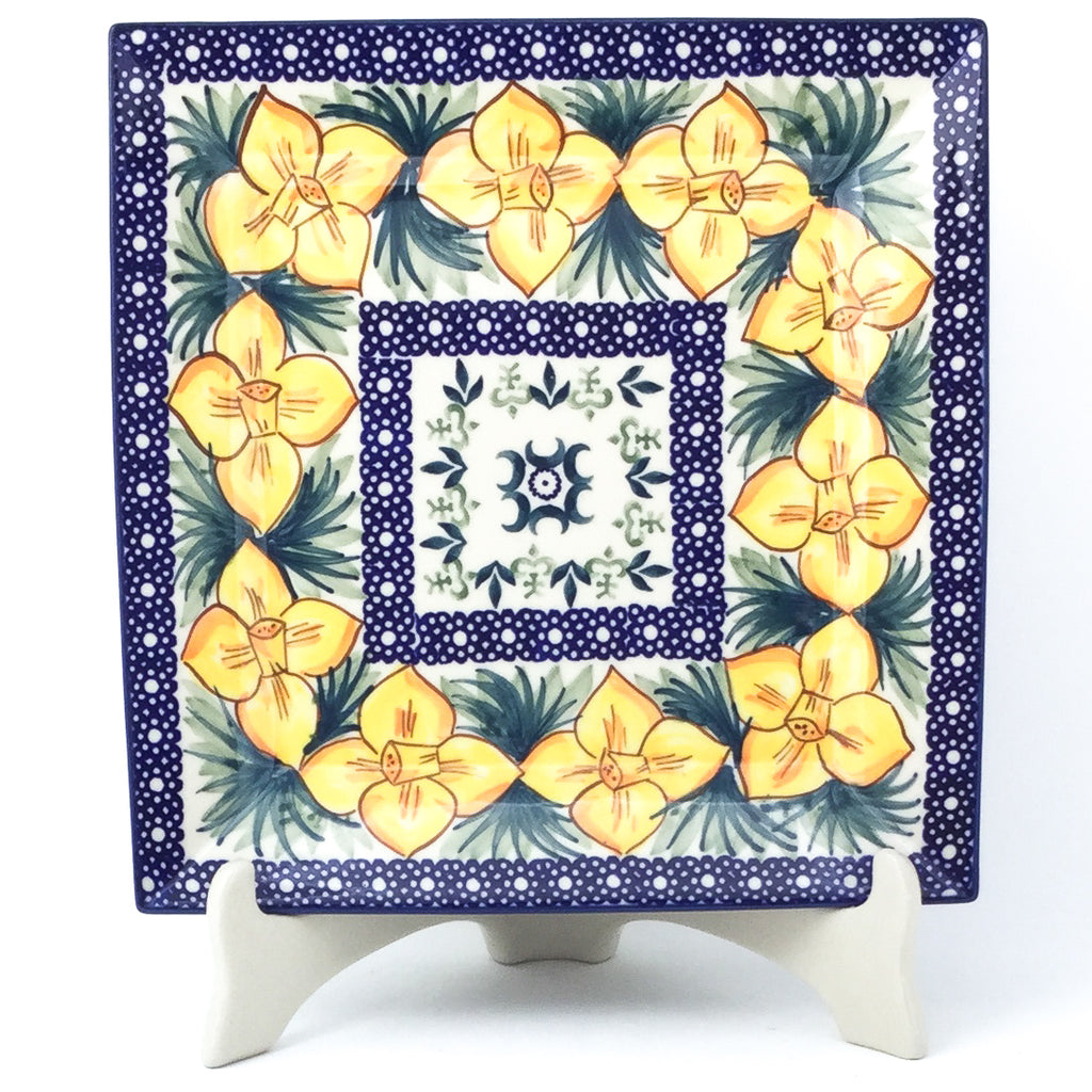 Square Dinner Plate in Daffodils