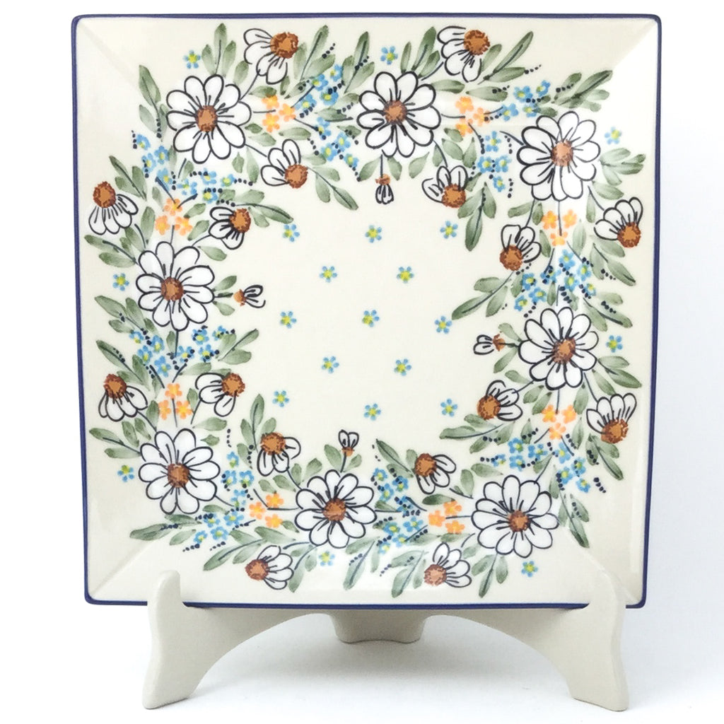 Square Dinner Plate in Spectacular Daisy