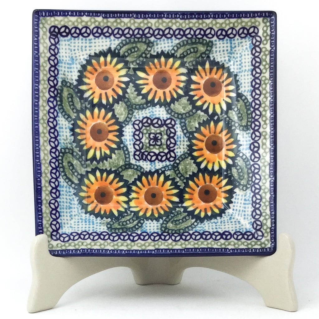 Square Luncheon Plate in Sunflowers