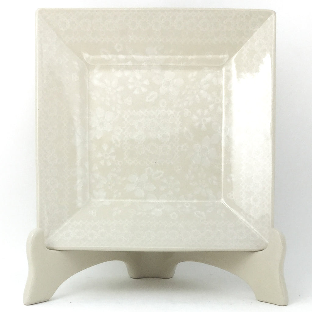 Square Luncheon Plate in White on White