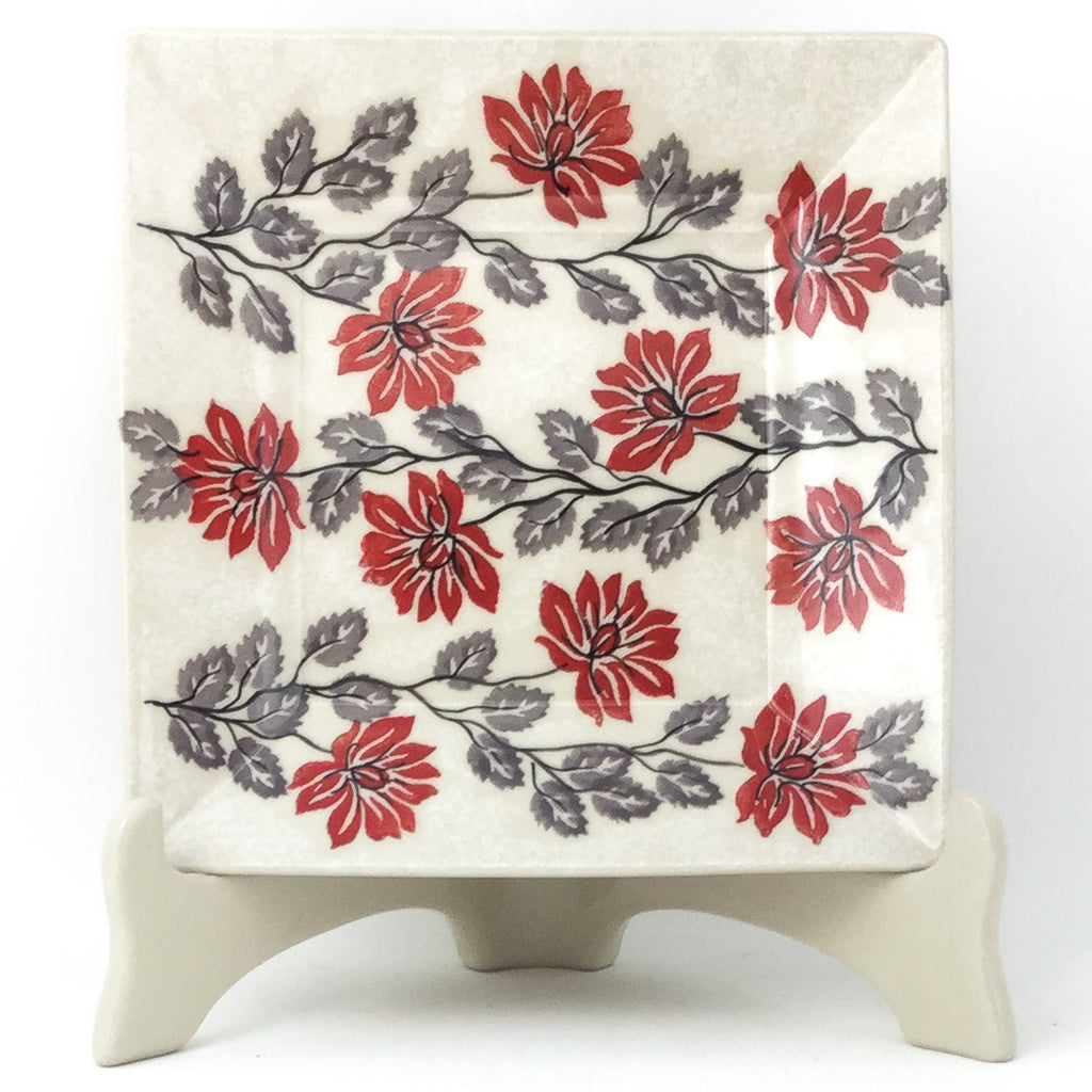 Square Luncheon Plate in Red & Gray