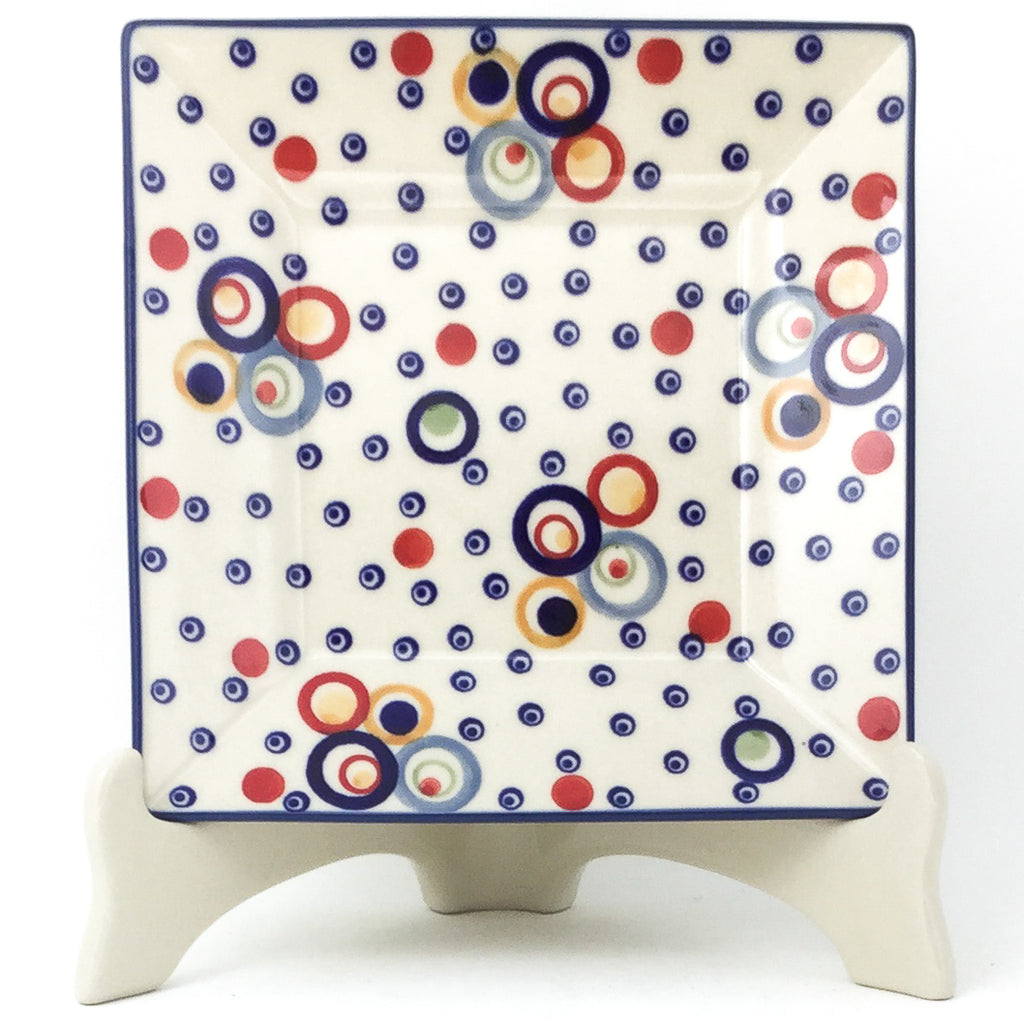 Square Luncheon Plate in Modern Circles