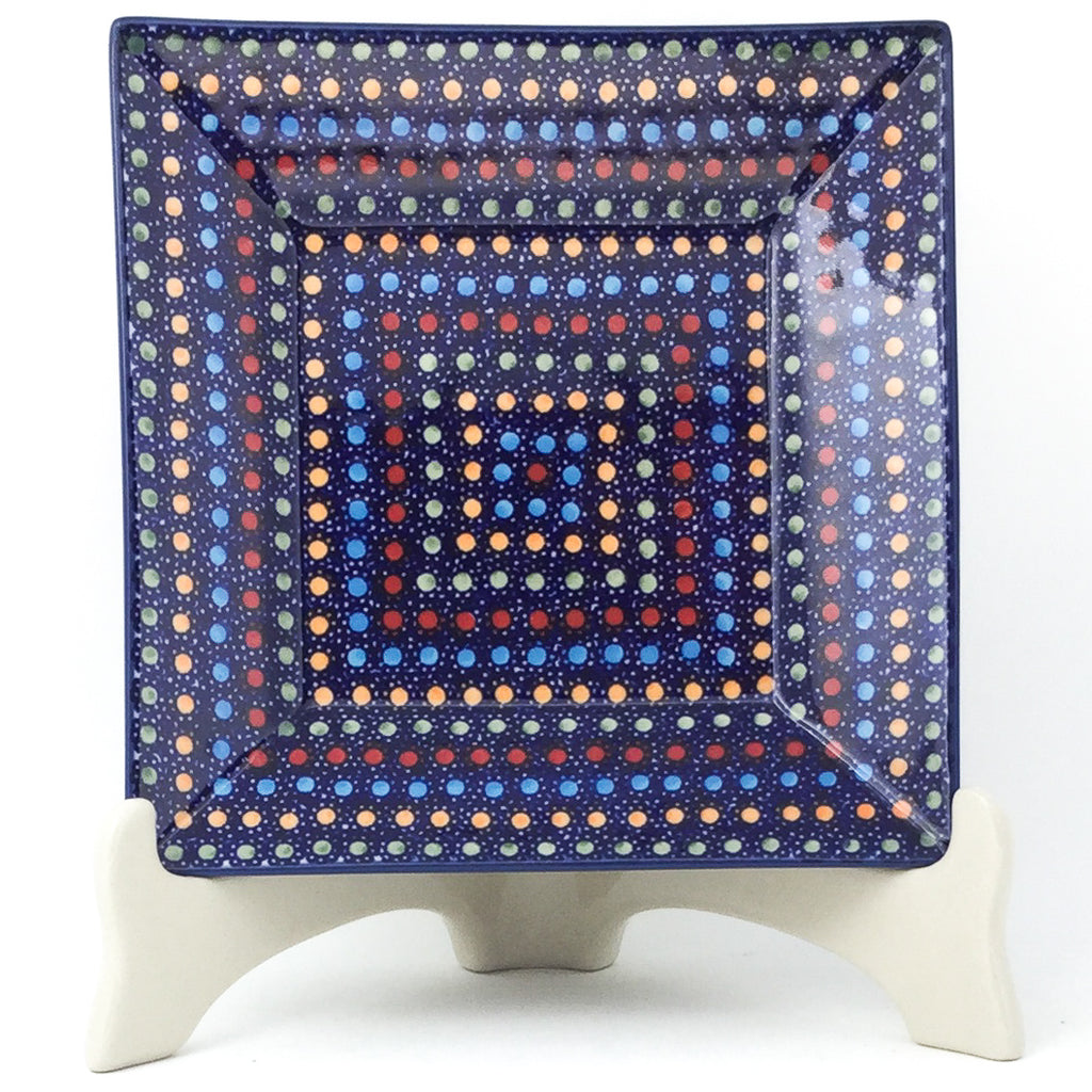 Square Luncheon Plate in Multi-Colored Dots