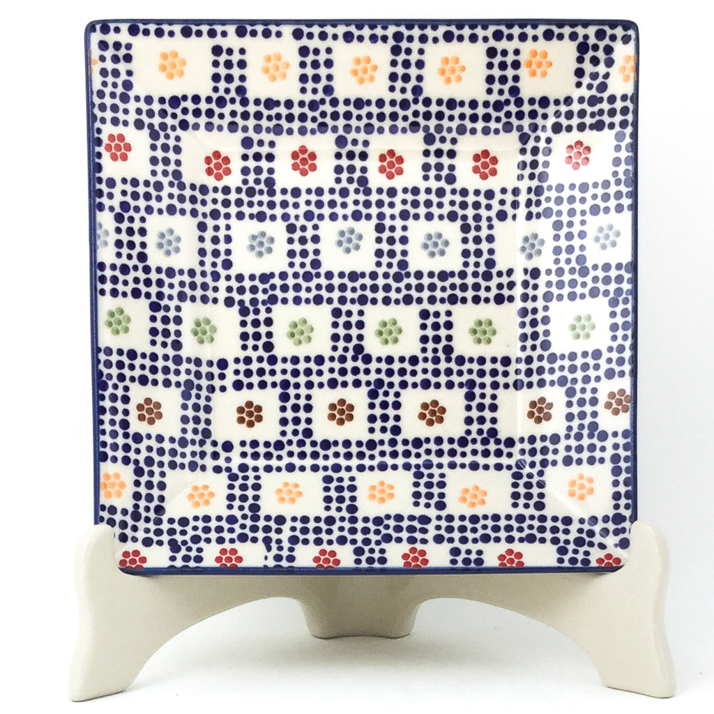 Square Luncheon Plate in Modern Checkers