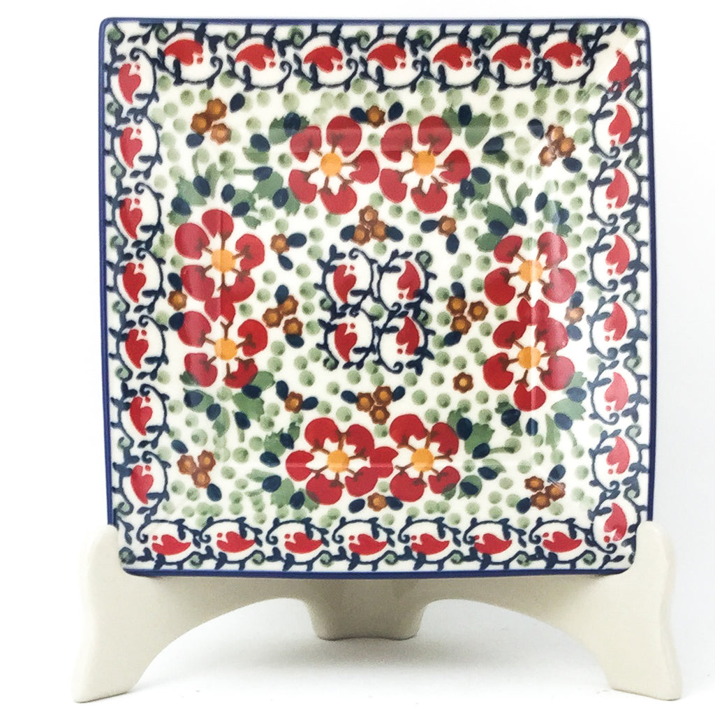 Square Luncheon Plate in Red Poppies