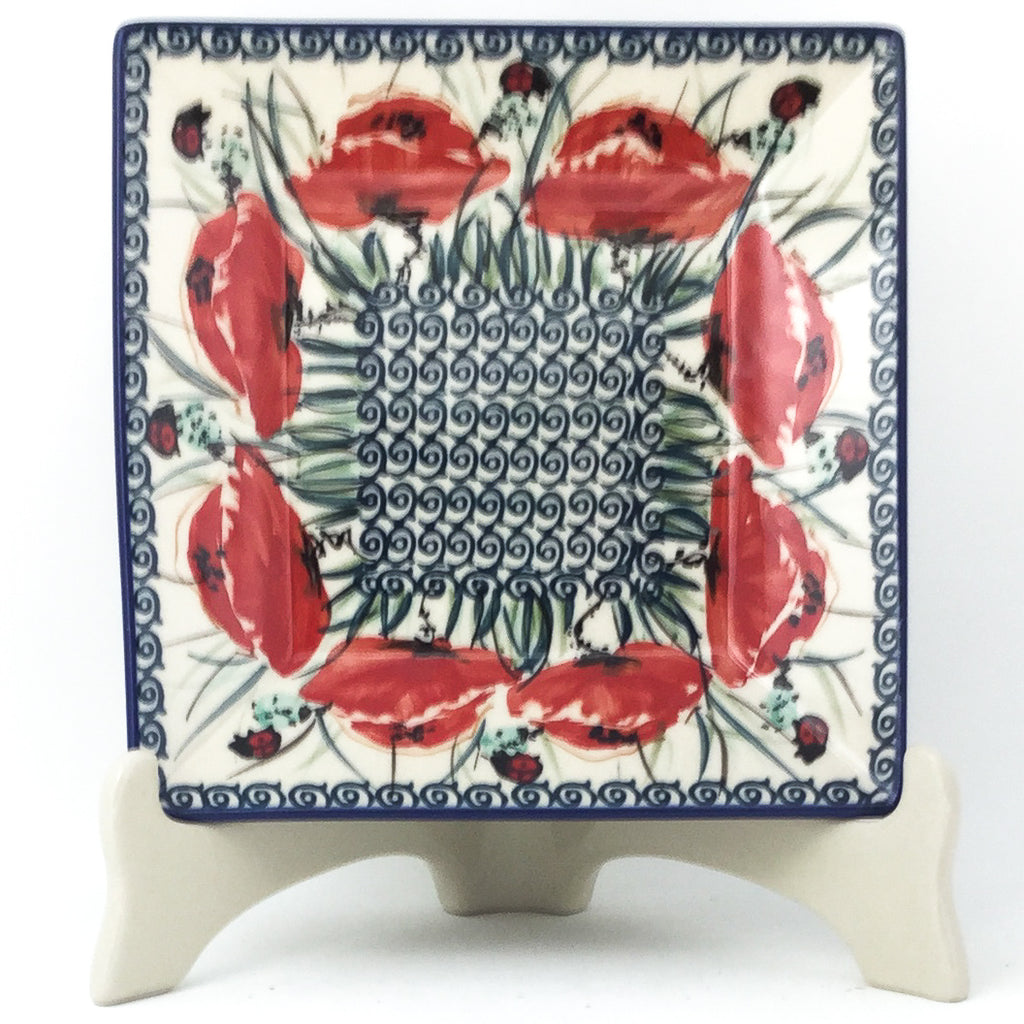 Square Luncheon Plate in Polish Poppy