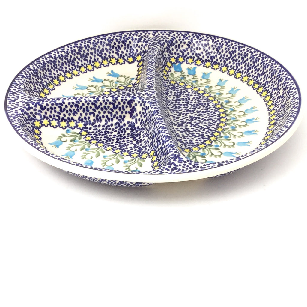Divided Plate in Blue Tulips