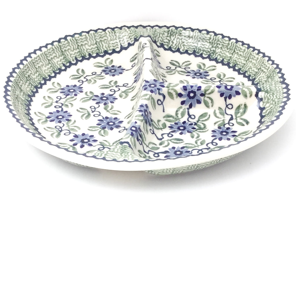 Divided Plate in Blue & Green Flowers