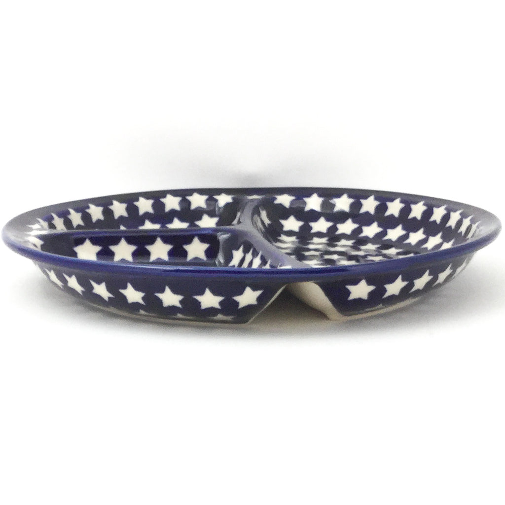 Divided Plate in White Polka-Dot