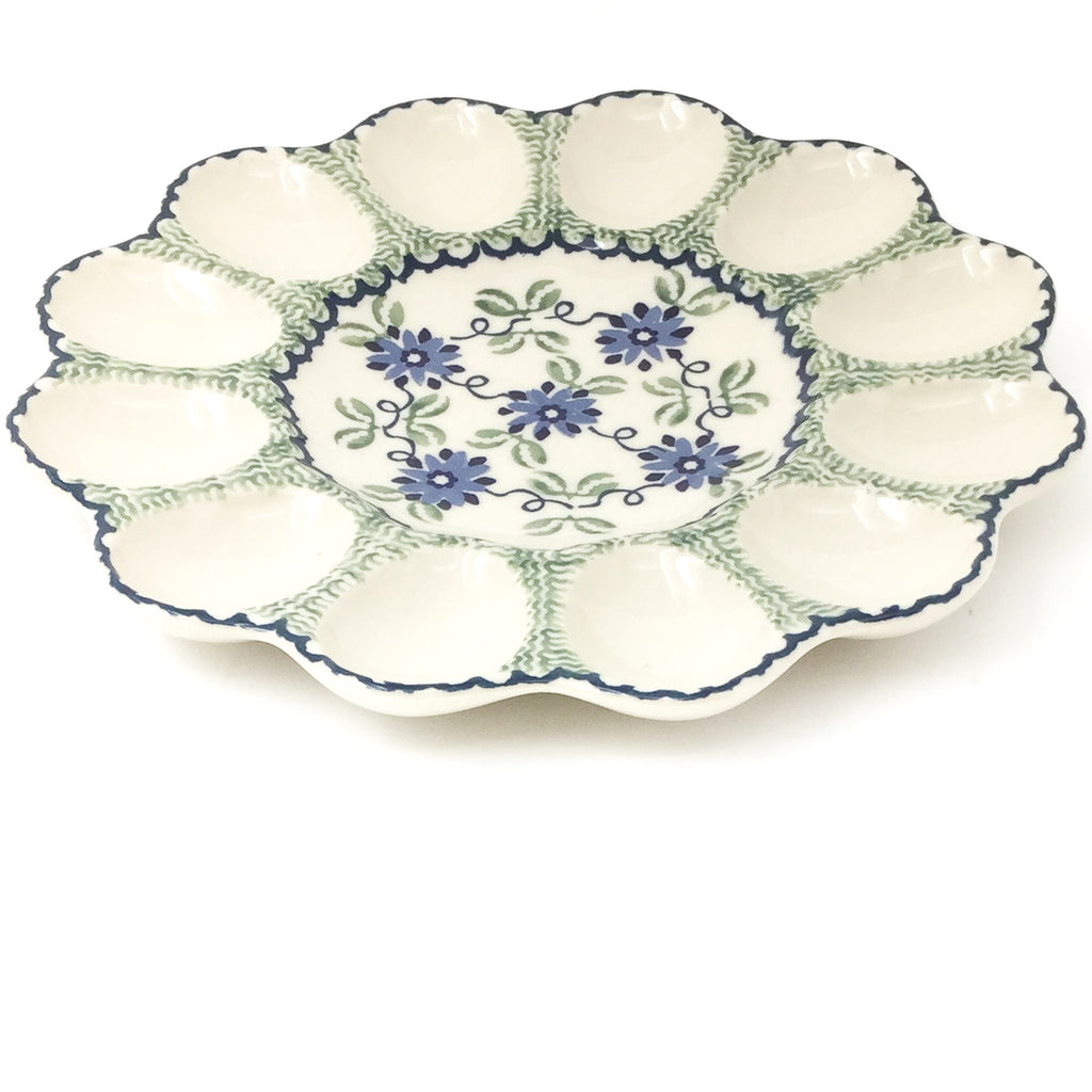 Deviled Egg Plate in Blue & Green Flowers